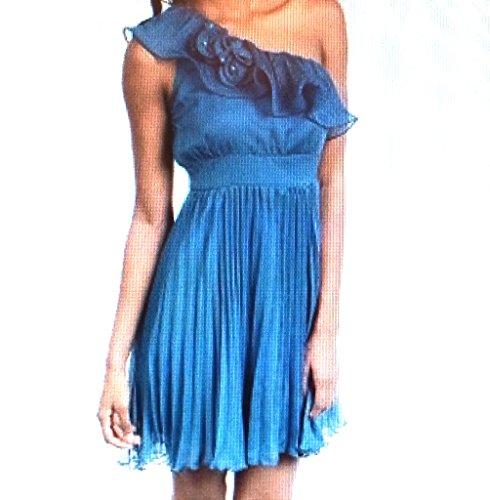 Star-Studded One Shoulder Rosette Accordian Pleat Cocktail Dress (s)
