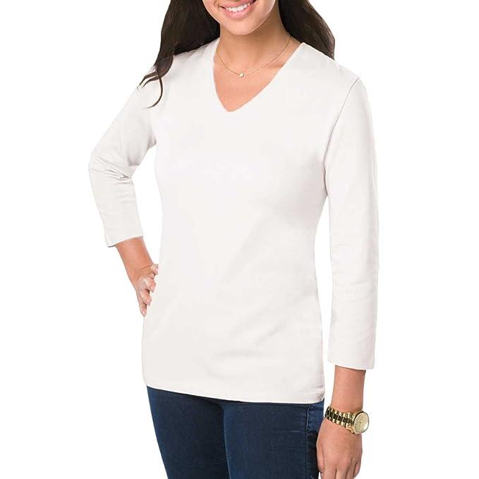 Amy Alder Womens V Neck 3 4 Sleeve T Shirt Plain Basic Tee Stretch Solid Vneck