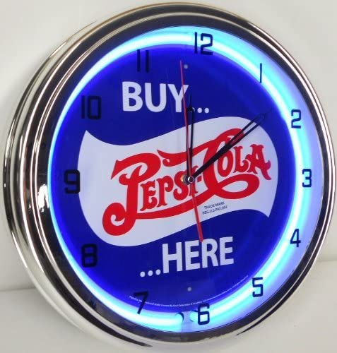 BUY PEPSI COLA HERE 15 NEON LIGHT WALL CLOCK POP SHOP BAR VINTAGE STYLE GARAGE SIGN BLUE