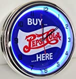 BUY PEPSI COLA HERE 15'' NEON LIGHT WALL CLOCK POP SHOP BAR VINTAGE STYLE GARAGE SIGN BLUE