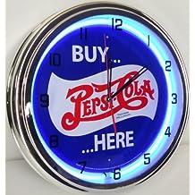 "BUY PEPSI COLA HERE 15"" NEON LIGHT WALL CLOCK POP SHOP BAR VINTAGE STYLE GARAGE SIGN BLUE"