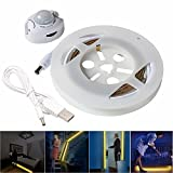 JIAEN USB Motion Activated Bed Strip Light 1.9m/6.3'' 114pcs SMD2835 Hight Brightness LEDs Automatic Shut Off Timer Soft Warm White Color