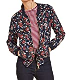 MLG Womens Vintage Floral Print Zip-Front Slim Fit Bomber Jacket As Picture M
