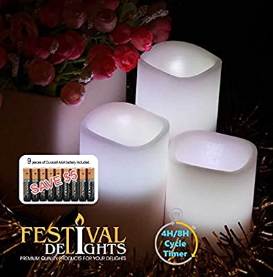 Flameless Candles By Festival Delights®- Real Wax, 9pc Duracell® Batteries Included, Multiple Color, Cycle Timer, Remote Control, LED Candles, Flameless Candle Set, Battery Operated, Decorations, Centerpieces