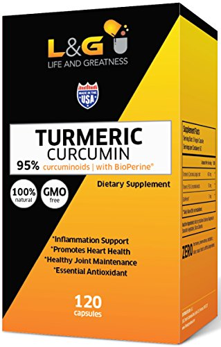 Turmeric Curcumin with Bioperine 1300mg. Highest Potency Available. Premium Pain Relief & Joint Support with 95% Standardized Curcuminoids. Non-GMO, Gluten Free Turmeric Capsules with Black Pepper