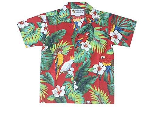 Boy's Tropical Parrot Hawaiian Luau Cruise Aloha Shirt (10, RED) Luau Aloha Shirt
