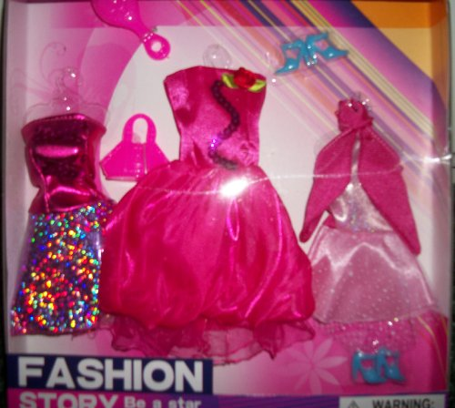Lovely 3 Pink Dressy Dresses with accesories(Fits Barbie)