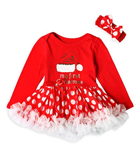 Costume Idea Tutu Red (Sipring Newborn Baby Girls My First Christmas Princess Dress Letter Dot Long Sleeve Tutu Dress Outfits Set (6 Months old, Red)