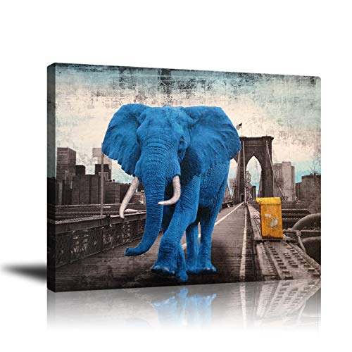 (Wall decor Giclee Painting, Canvas Drawing Art - Home and Office Decoration, Unframed Animal Theme Artwork, Blue Elephant and Bridge Picture, Ready to Hang, 16