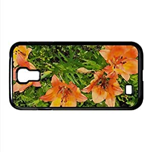 Orange Tiger Lily Watercolor style Cover Samsung Galaxy S4 I9500 Case (Flowers Watercolor style Cover Samsung Galaxy S4 I9500 Case)