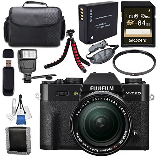Fujifilm X-T20 Mirrorless Digital Camera with 18-55mm Lens (Black) 16542751 + NP-W126 Lithium Ion Battery + Sony 64GB SDXC Card + Carrying Case + Flexible Tripod + Flash + Memory Card Wallet Bundle For Sale