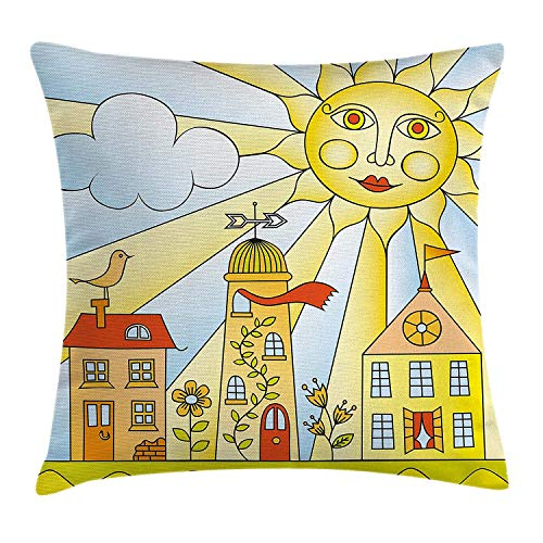 YXZILH Kids Room Throw Pillow Cushion Cover, Childlike Drawing of City Under Smiling Sun Cartoon Houses Garden Cloud Nursery, Decorative Square Accent Pillow Case, 18 X 18 Inches, Multicolor