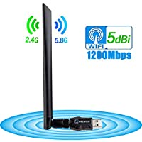 ANEWISH Wireless USB Wifi Adapter 1200Mbps, USB 3.0 Network Lan Card with 5dBi Antenna WiFi Receiver for PC/Desktop/Laptop/Tablet Dual Band 2.4G/5.8G 802.11ac Support Windows 10/8.1/8/7/XP, Mac OS