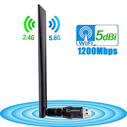 ANEWISH Wireless USB Wifi Adapter 1200Mbps, USB 3.0 Network Lan Card with 5dBi Antenna WiFi Receiver for PC/Desktop/Laptop/Tablet Dual Band 2.4G/5.8G 802.11ac Support Windows 10/8.1/8/7/XP, Mac OS by A-NEWISH