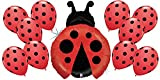 Red Ladybug and 10 Matching Polka Dot Latex Balloon Spring Bundle