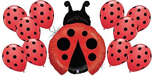 Red Ladybug and 10 Matching Polka Dot Latex