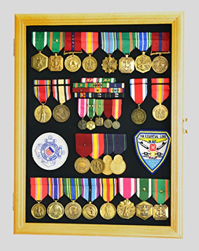 Military Medals, Pins, Badges, Patches, Insignia, Ribbons, Flag Display Case Shadowbox Cabinet Pinnable Background - Lockable, Oak