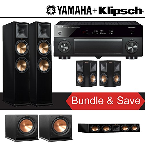 Klipsch RP-280F 5.2-Ch Reference Premiere Home Theater System (Piano Black) with Yamaha AVENTAGE RX-A1070BL 7.2-Channel Network A/V Receiver
