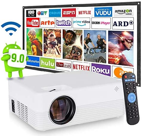 [2021 Upgrade Android WiFi Projector] 8500 Lumens LED Smart Full HD1080P Projector ± 15° 4D Keystone X / Y Zoom 8000:1 Contrast, Home Theater LED Video HD Projector with Powerful Speakers