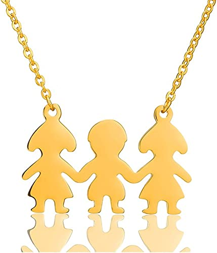 Moms jewelry 14K Yellow GOLD Mother Father /& Twin or 2 Children Family Pendant
