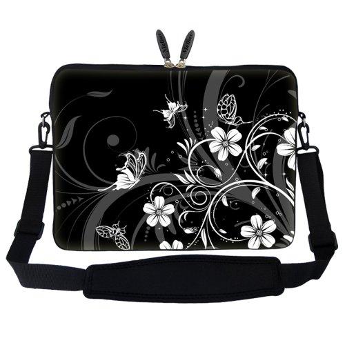 17 43,94 cm Neopren Tasche Tragetasche mit verstecktem Griff und verstellbarem Schultergurt (Regenbogen Musiknoten) Gray Black Butterfly