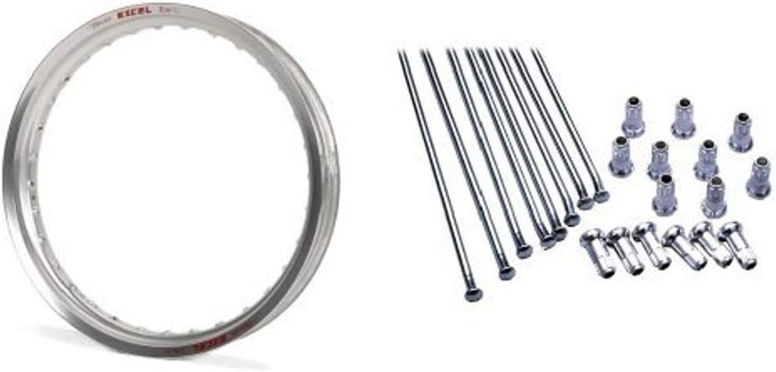 Excel FES422 Silver 18 x 2.15 36 Hole Takasago Rim and Excel XS8-43187 18 Replacement Spoke and Nipple Kit Bundle