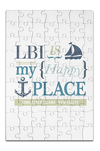 Long Beach Island, New Jersey - LBI Is My Happy Place (#2) (8x12 Premium Acrylic Puzzle, 63 Pieces) -  Lantern Press, LANT-3P-AC-PZ-51786-8x12