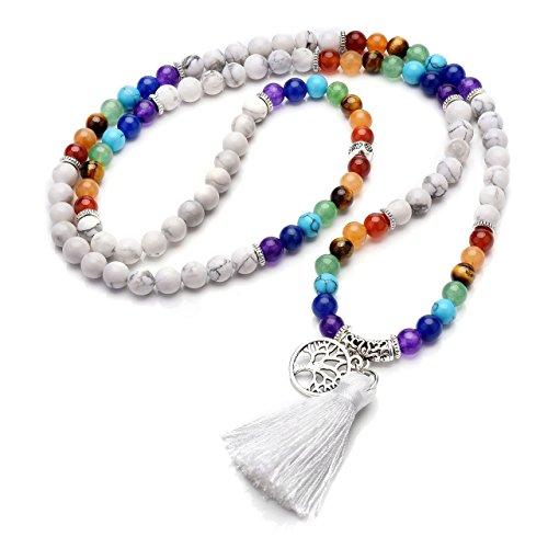Jovivi 6mm Natural 7 Chakra Healing Crystal Gemstone Buddhist Prayer 108 Beads Tibetan Mala Bracelet Necklace by Jovivi (Image #7)