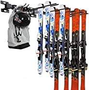 Ski Storage Rack Snowboard Rack Wall Mount Heavy Duty Metal Ski Wall Rack Hold Up to 10 Pairs, 200lbs for Home