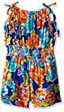 Bonnie Jean Royal, Toddler Girls' Floral Printed Rayon Romper Dress, Royal, 3T