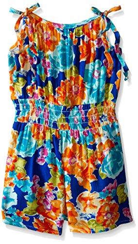 Bonnie Jean Little Girls' Floral Printed Rayon Romper Dress, Royal, 6 from Bonnie Jean