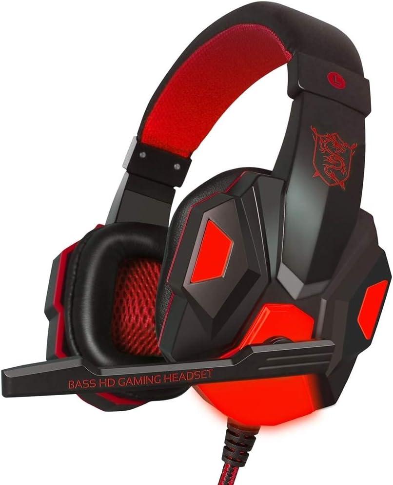 H-HX Auriculares Gaming PC780 sobre-Oído del Juego de Auriculares estéreo de subwoofer Bass Cinta de Cabeza de Auriculares con micrófono (Azul Negro) (Color : Black Red)