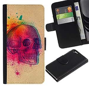 All Phone Most Case / Oferta Especial Cáscara Funda de cuero Monedero Cubierta de proteccion Caso / Wallet Case for Apple Iphone 5 / 5S // Color Explosion 3D Skull Birds Art