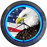 Cheap Neonetics Eagle with American Flag Neon Wall Clock, 15-Inch