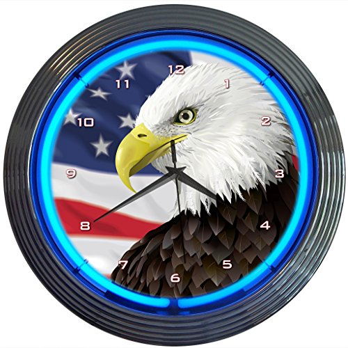 Neonetics Eagle with American Flag Neon Wall Clock, (Flag Neon Sign)