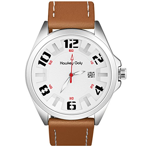Mens Analog Casual Wrist Watch 30M Waterproof, Comfortable Leather Strap Men Sport Watch, Big Face Quartz Calendar Watches Ideal Gifts for Man, - Male Face Ideal