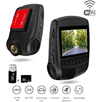 Dash Cam Driving Recorder Ispring Full HD 1296P 2.0 LCD 170° Car Camcorder with Wifi Motion Detection and Night Vision for any Car