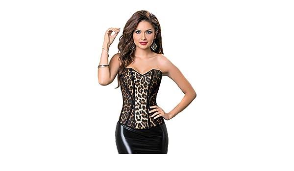 ffd96df22d3 Amazon.com  Retro Leopard Animal Instinct Sexy Corset Lingerie Top  Clothing