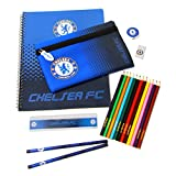 CHELSEA FC Ultimate Stationary Set 19 piece set containing 12 colouring pencils, 2 pencils, A4 notepad, eraser, pencil case, ruler and a pencil sharpener. Officially Licensed & Ships from USA!