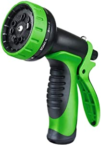 TUKNON Garden Hose Nozzle, Hose Spray Nozzle with 10 Patterns, Heavy-Duty Nozzle for Hose Under High Pressure, for Watering,Washing Car,and Showering Pets (Green)