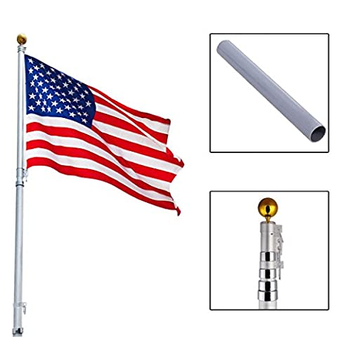 20Ft Aluminum Telescoping Flagpole Kit Outdoor Gold Ball + 1 US America Flag New (Iphone 5 Cases Spike)