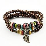 November's Chopin (TM) Unique Leaf Pendant Wood Colorful Beads Charm Adjustable Wrap Bracelet