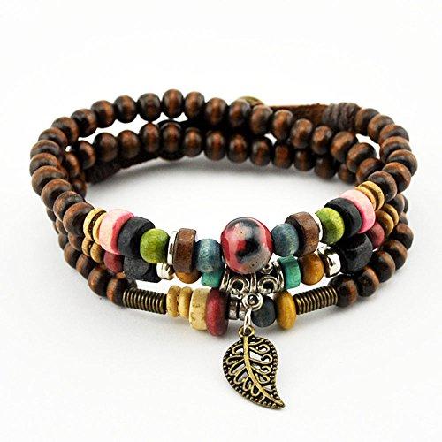 November's Chopin (TM) Unique Leaf Pendant Wood Colorful Beads Charm Adjustable Wrap Bracelet (Magnetic Wrap Bracelet Choker)