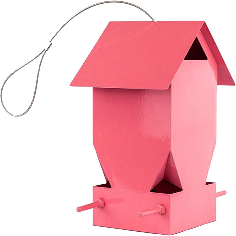 GPFFACAI Bird Feeder Bird feedersBird Feeder Metal Bird Feeder Outdoor Bird Food Bowl Hanging Bird Feed Box Pink