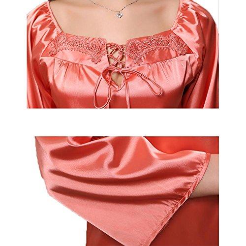 YUYU Mujeres Primavera Seda Pijamas La manga larga Tamaño grande Suave Peso ligero Ropa de dormir Albornoz orange red