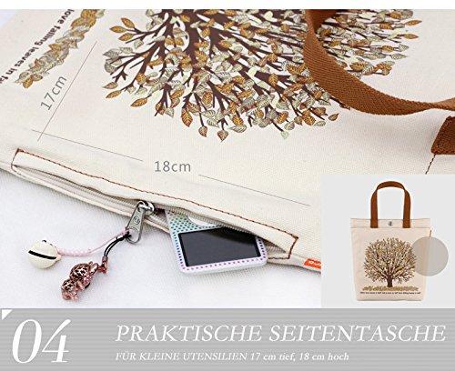 Canvas Tasche Damentasche groß Strandtasche Schultertasche Shopper Motiv Wald BIO Vegan Bag Uni Style A4 A100012