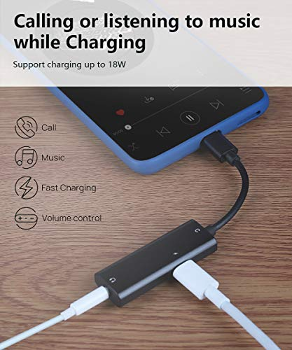 USB C to 3.5mm Headphone and Charger Adapter, Aimuli 2 in 1 USB C to Aux Headphone Jack with USB C Fast Charging for Stereo Earphones Compatible with Galaxy Note20/10/S20, Pixel 4XL/3/2XL and More