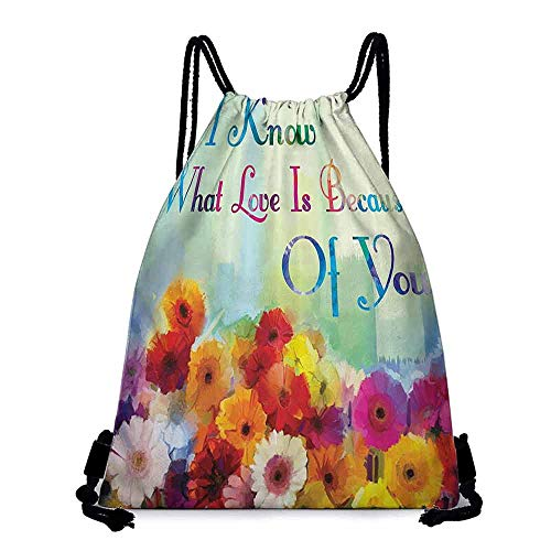 Lady backpack Mothers Day Gifts Floral Art Print Watercolor Painting I Know What Love Is Because of You Green Blue Red Orange Purple Pink Hiking gym swimming travel beach W14