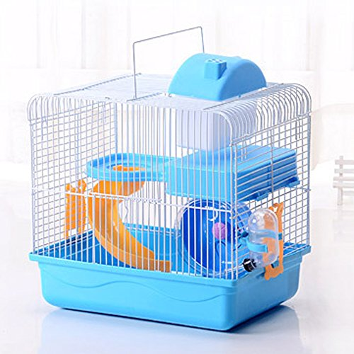 Petzilla Hamster Travel Cage, Portable Carrier for Small Animals (Blue)