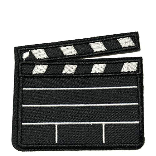 Director Video Scene Clapperboard Film Prop Embroidered Patch Movie TV Costume Cosplay Series Iron or Sew-on Emblem Badge Appliques Application Fabric Patches ()